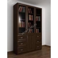 шкаф для книг с ящиками для мелочей цвета венге