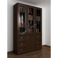 шкаф для книг с витражом цвета венге