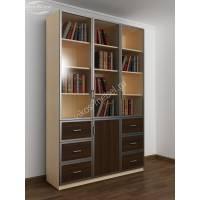 шкаф для книг шириной 120-135 см цвета беленый дуб - венге