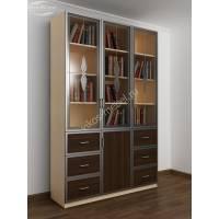 шкаф для книг с ящиками для мелочей цвета беленый дуб - венге