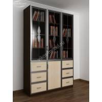 шкаф для книг шириной 120-135 см цвета венге - молочный дуб