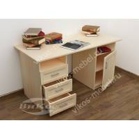 письменный стол с выдвижными ящиками цвета молочный беленый дуб