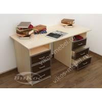 двухтумбовый офисный стол цвета беленый дуб - венге