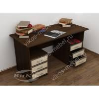 2-тумбовый письменный стол цвета венге - молочный дуб