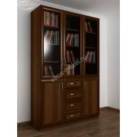 книжный шкаф со стеклом с ящиками цвета яблоня