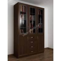 3-створчатый книжный шкаф со стеклом цвета венге
