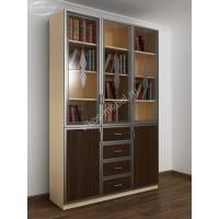 3-створчатый книжный шкаф со стеклом цвета беленый дуб - венге