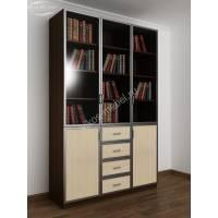 3-створчатый книжный шкаф со стеклом цвета венге - молочный дуб