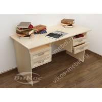 стол в кабинет с ящиками цвета молочный беленый дуб