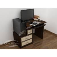 компьютерный стол с ящиками для мелочей цвета венге - молочный дуб