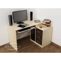 широкий стол компьютерный цвета беленый дуб - венге