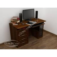 стол для компьютера с выдвижными ящиками цвета яблоня