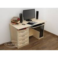 прямой стол для компьютера цвета молочный беленый дуб
