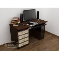 прямой стол для компьютера цвета венге - молочный дуб