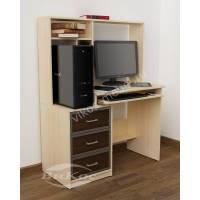 стол компьютерный с полками цвета беленый дуб - венге