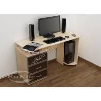 широкий стол для компьютера цвета беленый дуб - венге