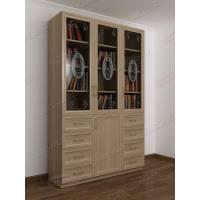 3-дверный книжный шкаф со стеклянными дверями цвета шимо светлый