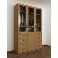3-дверный книжный шкаф со стеклянными дверями цвета бук