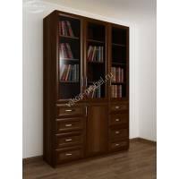 3-дверный книжный шкаф со стеклянными дверями цвета яблоня