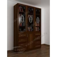 книжный шкаф со стеклянными дверями с пескоструйным зеркалом цвета яблоня