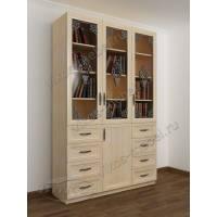 3-дверный книжный шкаф со стеклянными дверями с выдвижными ящиками