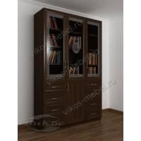 3-дверный книжный шкаф со стеклянными дверями с пескоструем