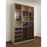 книжный шкаф со стеклянными дверями с витражом цвета беленый дуб - венге