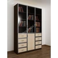 книжный шкаф со стеклянными дверями с выдвижными ящиками цвета венге - молочный дуб