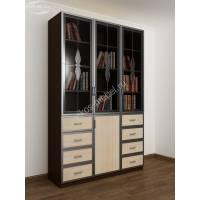 3-дверный книжный шкаф со стеклянными дверями цвета венге - молочный дуб